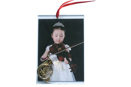 Picture Frame Ornament With French Horn