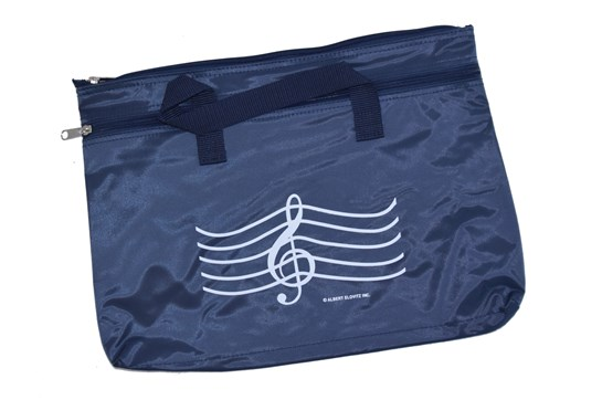 Double Zippered G Clef Navy Portfolio Bag