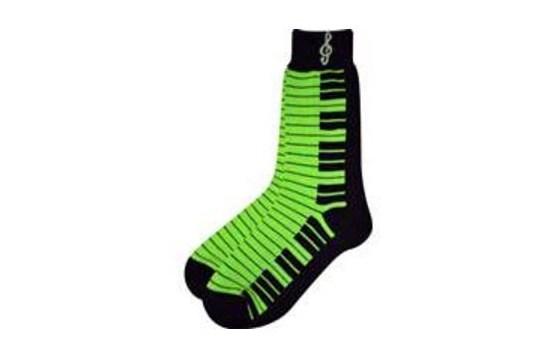 Ladies Socks Neon Green with Keyboard