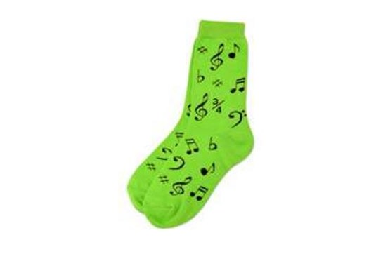 Ladies Socks Neon Green with Music Notes