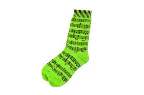 Ladies Socks Neon Green with Sheet Music