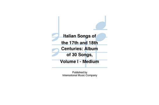 Italian Songs of the 17th & 18th Century Medium Voice