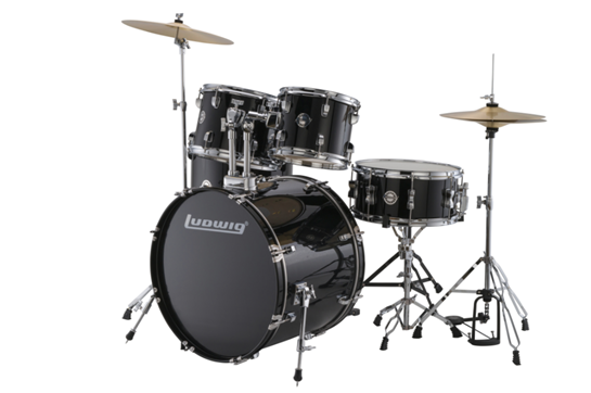 Ludwig Accent Fuse 5-Piece Drum Set (Black Cortex)
