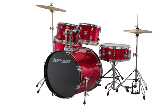 Ludwig Accent Fuse 5-Piece Drum Set (Red Foil)