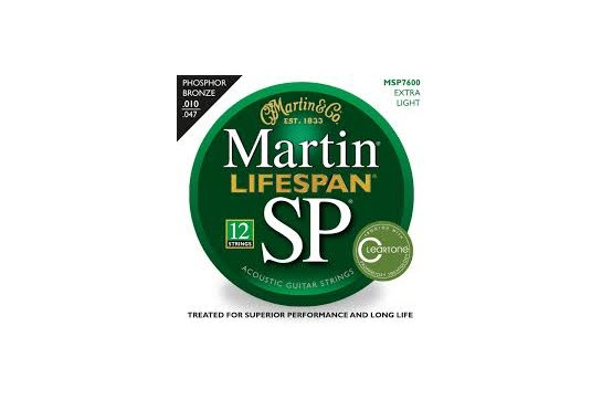 Martin MSP7600 SP Lifespan Phosphor Bronze Extra Light 12-String Acoustic Guitar Strings