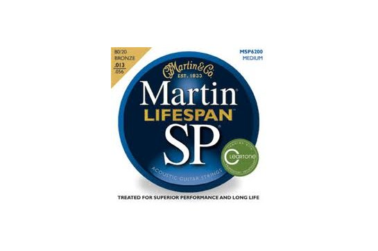 Martin MSP6200 SP Lifespan 80/20 Medium Bronze Acoustic Guitar Strings