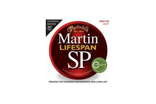 Martin MSP7100 SP Lifespan Phosphor Bronze Light Acoustic Guitar Strings
