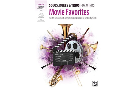 Solos, Duets & Trios for Winds: Movie Favorites Book and CD (Trombone/Baritone B.C./Bassoon/Tuba)