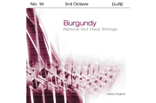 Burgundy 3rd Octave D Harp String