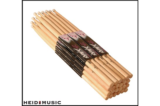 12 Pair Pack of On-Stage 7A Hickory Drumsticks (Woodtip)