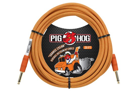 Pig Hog 20ft Guitar / Instrument Cable - Tour Grade (Orange Cream)