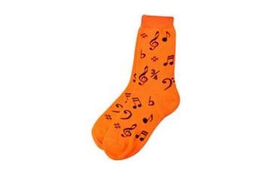 Ladies Socks Neon Orange with Music Notes