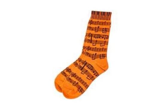Ladies Socks Neon Orange with Sheet Music