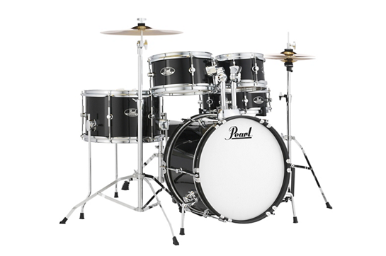Pearl Roadshow Jr. 5 Piece Drum Set with Hardware and Cymbals  (Jet Black)