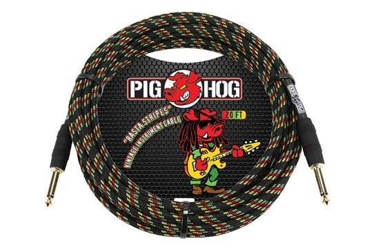 Pig Hog 20ft Guitar / Instrument Cable - Tour Grade (Rasta Stripes)