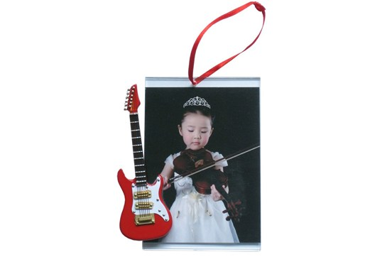 Picture Frame Ornament With Red Electric Guitar