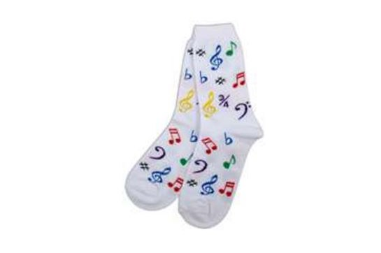 Ladies Socks White with Multi Color Notes