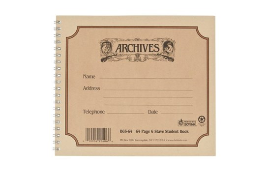 Archives Spiral Bound Manuscript Book (6 Stave, 64 Pages)