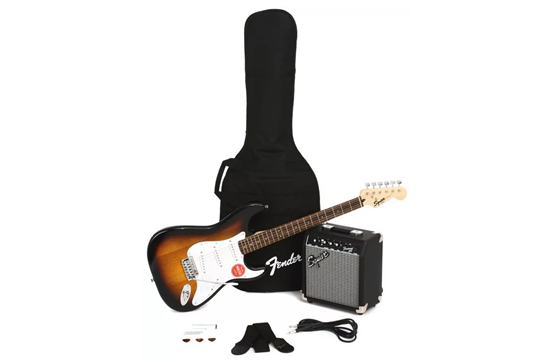 Squier Stratocaster Electric Guitar Pack (Brown Sunburst)
