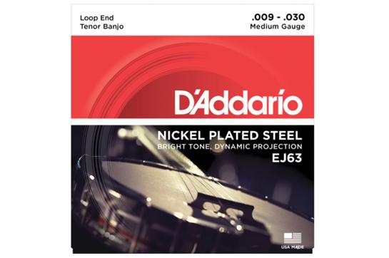 D'Addario EJ63 Nickel Wound Medium Tenor Banjo Strings .009-.030