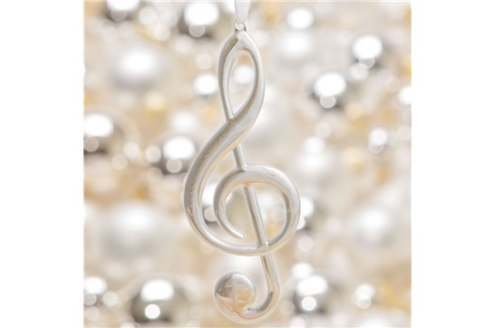 Silver Treble Clef Christmas Ornament