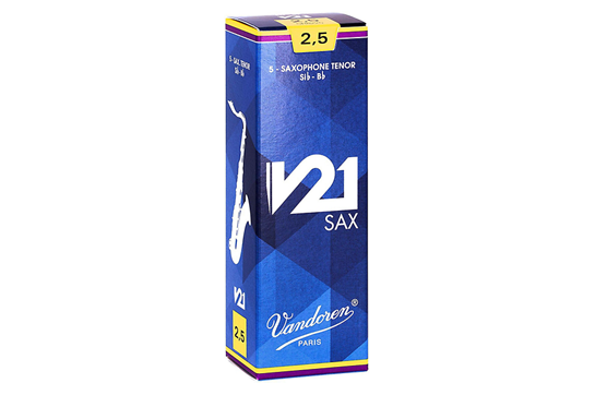 Vandoren V21 Tenor Saxophone Reeds Strength 2.5  (Box of 5)