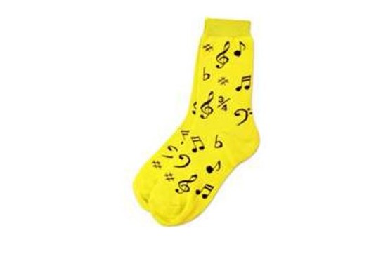 Ladies Socks Neon Yellow with Notes